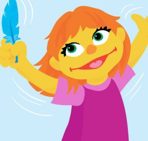 Storybook image of Julia, a Sesame Street Muppet with autism