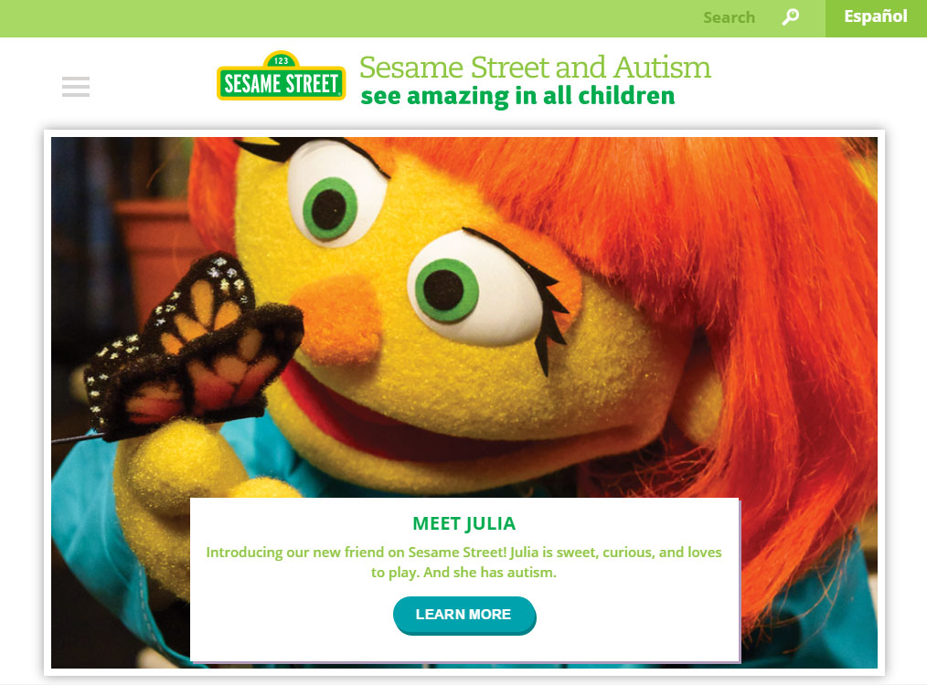 What Muppet With Autism Means To My >> Appreciating Autism With Julia Advancing Opportunities