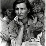 Migrant Mother by Dorothea Lange shows a mother with depression