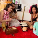 Music therapy session for students with autism disabilities