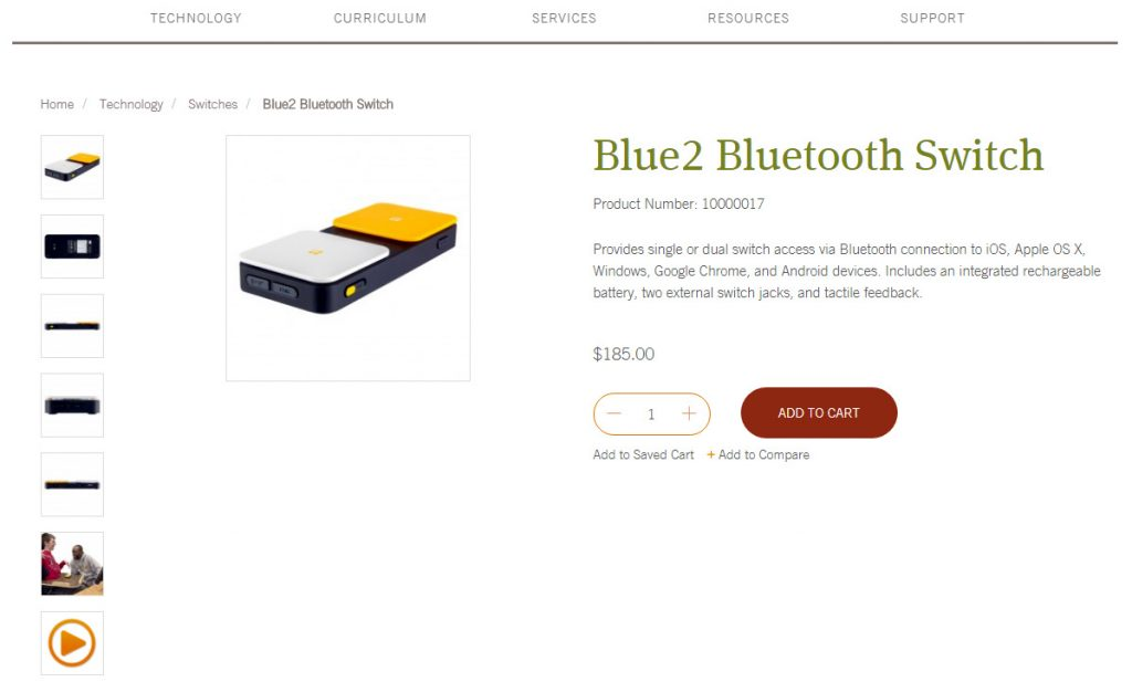 Ablenet Blue2 Bluetooth switch provides access to your favorite apps and programs.