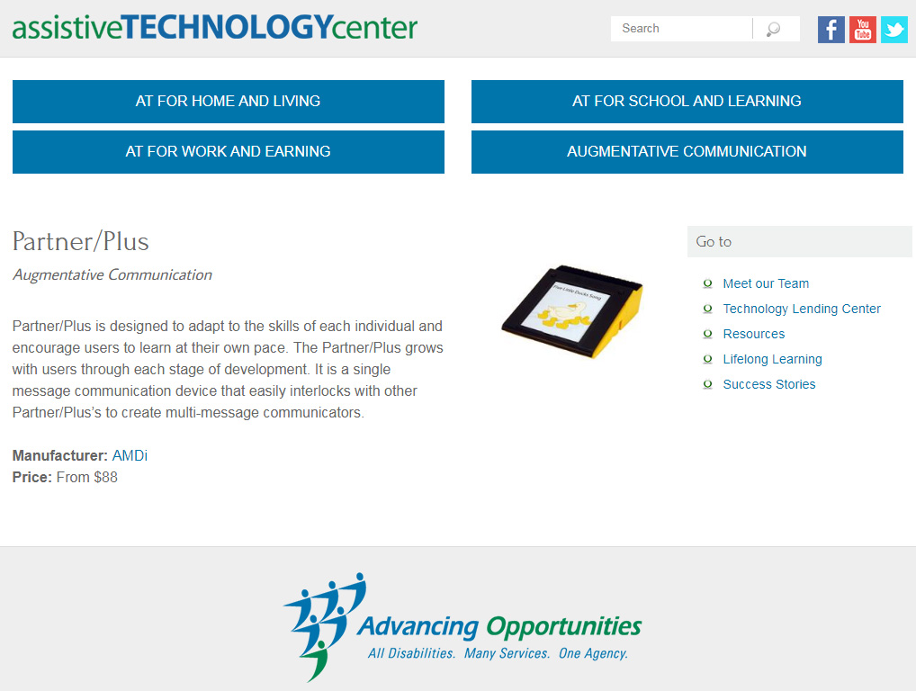 Partner/Plus offers need for an introduction to AAC devices for new uses.