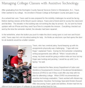 A college student with cerebral palsy is one of the people with a disability Assistive Technology Services has helped.