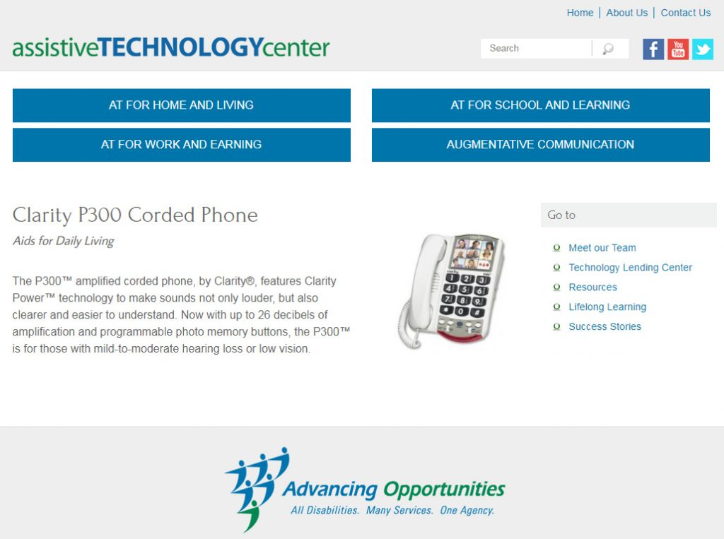 The Clarity P300 assistive technology phone has useful features to help users with hearing and visual impairments.