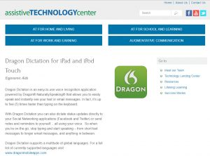 Dragon Dictation communication software assistive technology in New Jersey