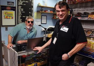 A blind man starts and runs his own business with assistive technology.