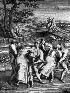 Two men try to assist three women with epilepsy, as depicted in this 17th century engraving.