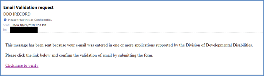 screen shot of email for validation