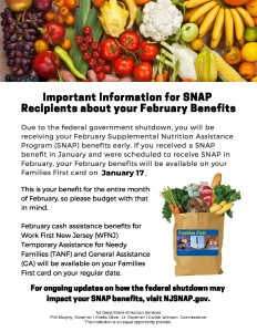 New Jersey SNAP Benefits Shutdown