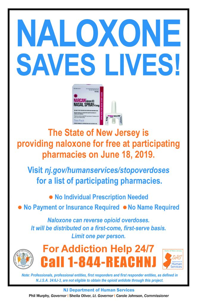 N J D H S poster urging people to get naloxoneNaloxone opioid addiction New Jersey