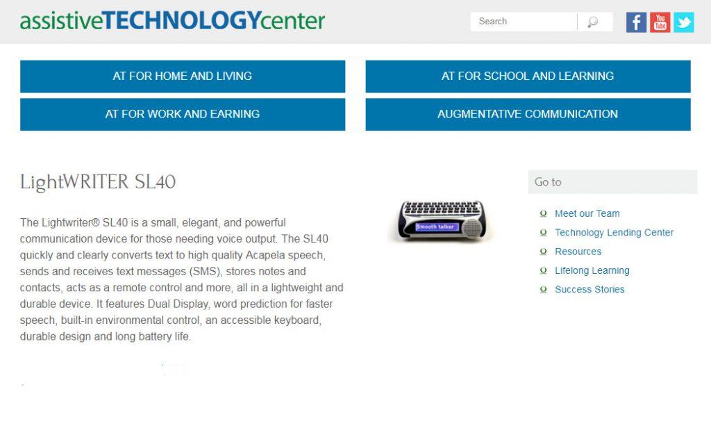 Lightwriter AAC assistive technology