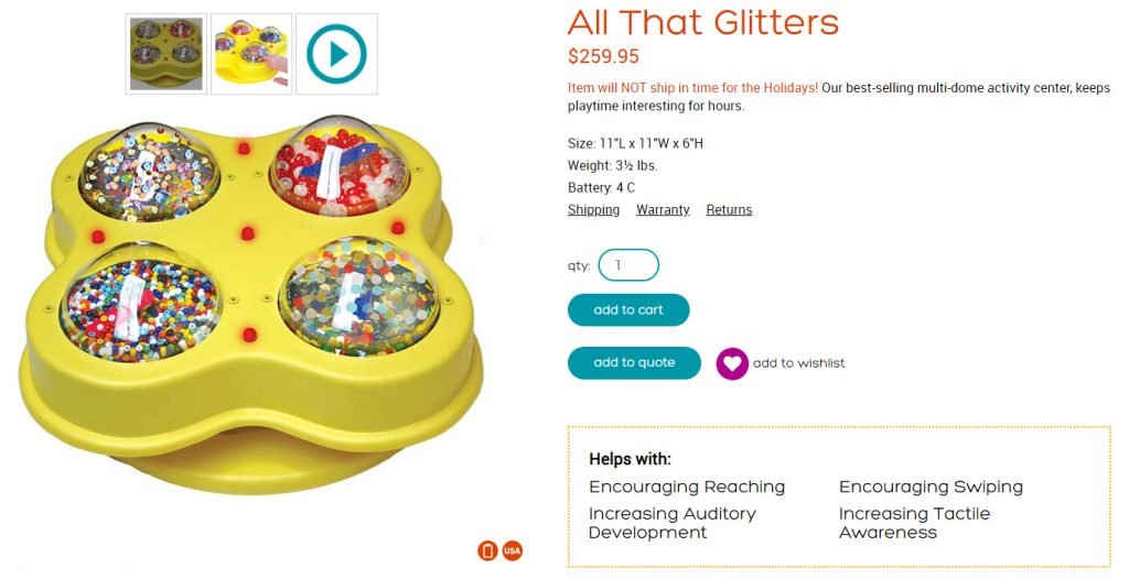 All That Glitters sensory toy assistive tech